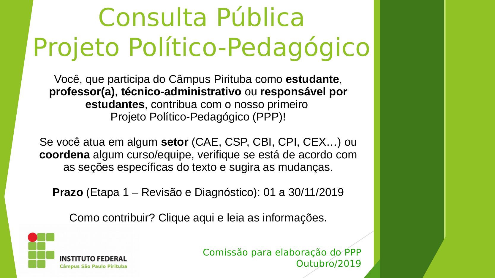 Consulta Pública (Etapa 1) – Projeto Político-Pedagógico do Câmpus PTB