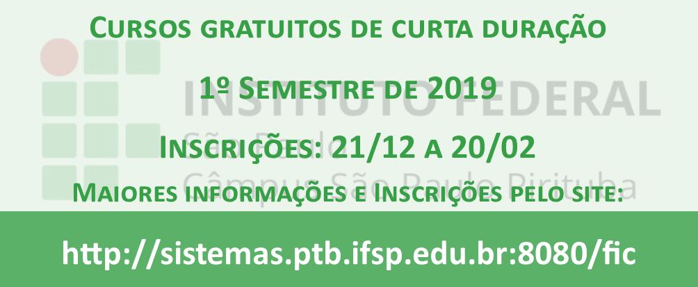 CURSOS DE EXTENSÃO - 1º semestre/2019: inscrições abertas