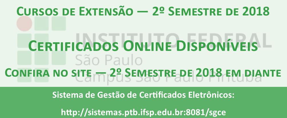Certificados de cursos FIC disponíveis