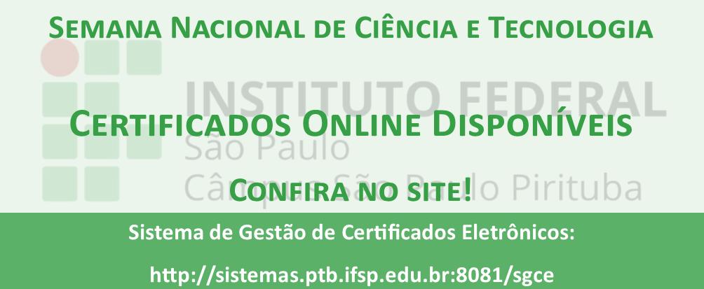 Certificados da Semana Nacional de Ciência e Tecnologia - SNCT
