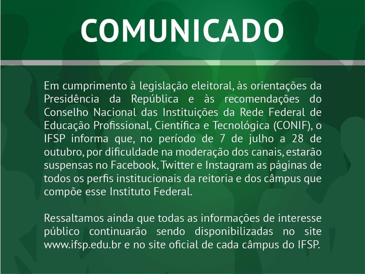 Comunicado - Perfis Institucionais do Instituto Federal