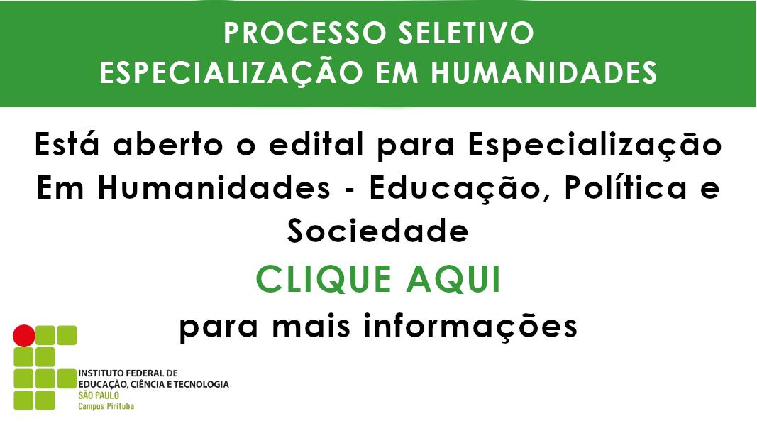 Processo Seletivo - Especialização Em Humanidades