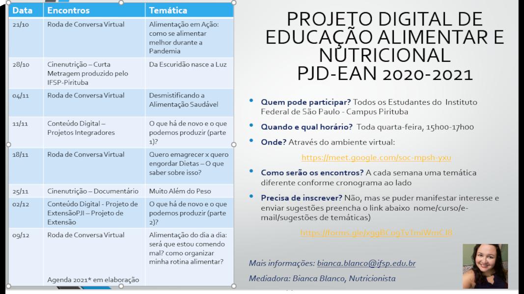 Projeto Digital de Educação Alimentar e Nutricional
